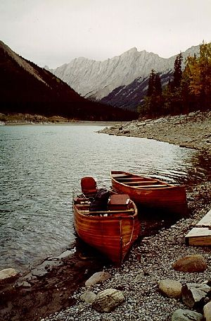 Medicine Lake (Alberta) - Cedar strip freighter canoes (1991)