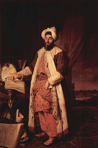 Yirmisekizzade Mehmed Said Pasha - Mehmed Said (then an Efendi) in Paris as ambassador in 1742, by Joseph Aved (now in the Musée de Versailles).