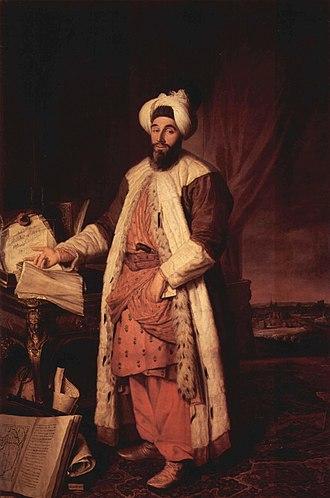 Jacques Aved - Yirmisekizzade Mehmed Said Efendi in Paris in 1742. Jacques Aved, Musée de Versailles.
