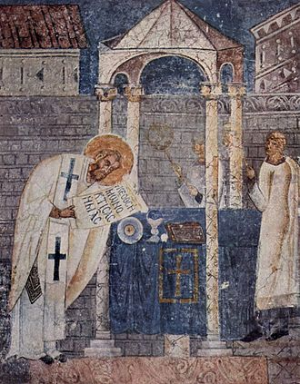 Fresco of Basil the Great, in the church of Saint Sophia, Ohrid. The saint is shown consecrating the Gifts during the Divine Liturgy which bears his name. Meister der Sophien-Kathedrale von Ohrid 001.jpg