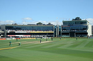 A view of Bellerive Oval from inside the ground.