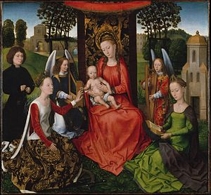 Baldachin - Enthroned Virgin Mary with cloth of honour by Hans Memling