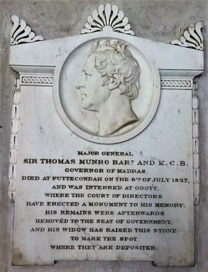 Sir Thomas Munro, 1st Baronet - Memorial Sir. Thomas Munro, St. Mary's Church, Madras