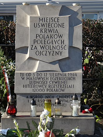 Wola Massacre Memorial on Górczewska Street - Image: Memorial of Mass Murder on Górczewska Street 02