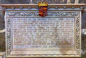 Michael Hicks Beach, 1st Earl St Aldwyn - Memorial to Sir Michael Edward Hicks Beach in Gloucester Cathedral