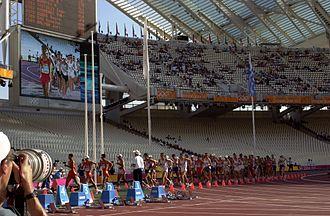 Athletics at the 2004 Summer Olympics – Men's 20 kilometres walk - Athletes leaving the stadium