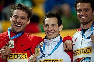 2012 IAAF World Indoor Championships – Men's pole vault - (from left) Björn Otto, Renaud Lavillenie and Brad Walker.