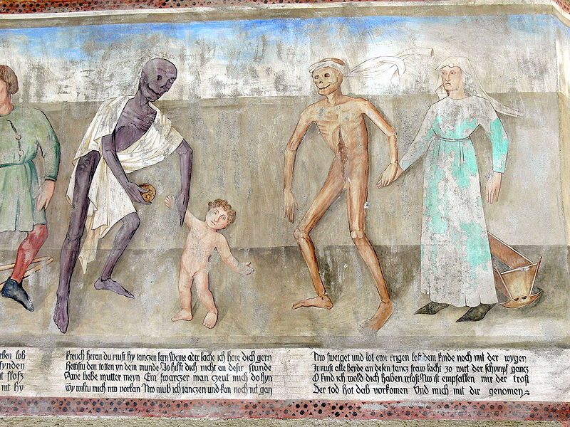 Dance of death scene with a mother and child.  Metnitz, Austria, 15th century.