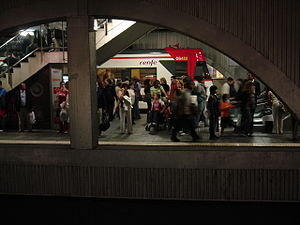 Plaça de Catalunya station - Barcelona Metro line 1 station during rush hour