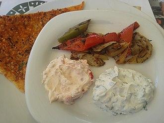 Haydari - Haydari served as a small plate meze appetizer with katıklı ekmek at a restaurant in Ankara