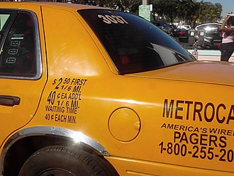 Transportation in South Florida - Fare displayed on a taxi in South Beach