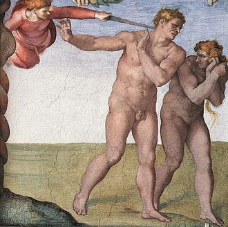 Perp walk - Adam and Eve being expelled from the Garden of Eden, as painted by Michelangelo