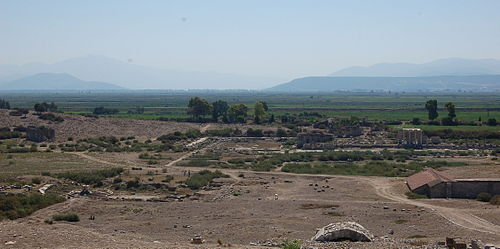 The site of Miletus, once coastal, now inland. The plain was a bay in Classical Greece. Miletus Northern Agora.JPG