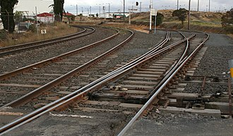 Rail gauge in Australia - Image: Mixed gauge trackwork north geelong