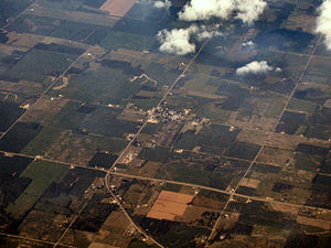 Randolph County, Indiana - Modoc from the air, looking northeast.