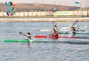 Mohammad Abubakar Durrani -  Mohammad Abubakar Durrani (lane 1) in 15th Asian Canoe Sprint Championship Samarqand 2013
