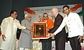 Mohd. Hamid Ansari presenting the 'Bharat Asmita Award' (Special) to Dr. Anil Kakodkar, Chairman, Atomic Energy Commission, at the presentation of the 'Bharat Asmita National Awards-2009', in New Delhi on February 03, 2009.jpg