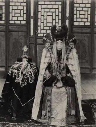 Mongolian nobility - A Khalkha Mongol noblewoman (c. 1908)