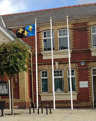 Flag of Monmouthshire - Image: Monmouthshire Flag at Cwmbran