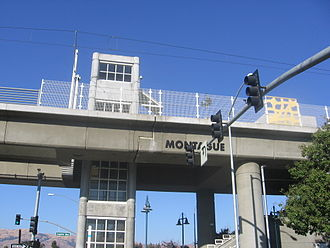 Montague station - A view of the elevated Montague Station from street level