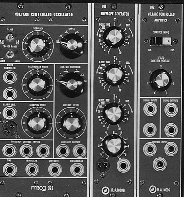 Modules: 921 VCO, 911 Envelope Generator; 902 VCA Moog 921, 911, 902 modules.jpg