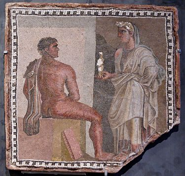 Mosaic of Orestes, main character in Aeschylus's only surviving trilogy The Oresteia Mosaic Orestes Iphigenia Musei Capitolini MC4948.jpg