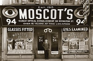 Moscot - Hyman Moscot in front of the first MOSCOT shop on 94 Rivington St.