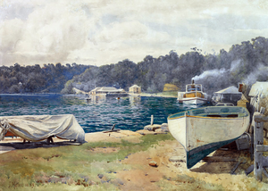 "John Mather (artist) - ""Mosman's Bay"" 1889 by Mather, showing the ferry from the city to the Artists' camps"