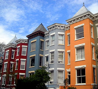 Mount Pleasant (Washington, D.C.) - Ornate roof lines of Queen Anne Style row houses in Mount Pleasant – 2008