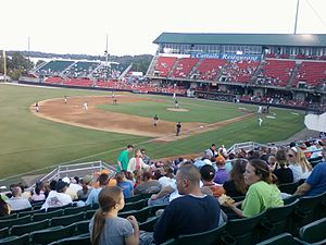 Montgomery Biscuits - The Biscuits (in navy) on the road at Five County Stadium during a 2011 game against the Carolina Mudcats
