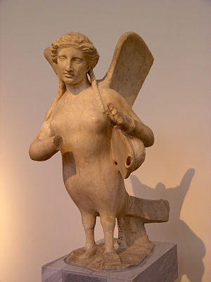 Siren (mythology) - Attic funerary statue of a Siren, playing on a tortoiseshell lyre, c. 370 BC