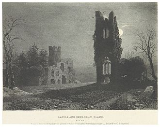 Slane - The ruins on the hill of Slane as it appeared in 1830.Picturesque views of the Antiquities of Ireland. Drawn on stone by J. D. Harding, from the sketches of R. O'C. Newenham. Since 1830, the battlements on the tower to the left, are now unrecognizable.