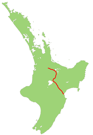 New Zealand State Highway 5 - Image: NZ SH5 map