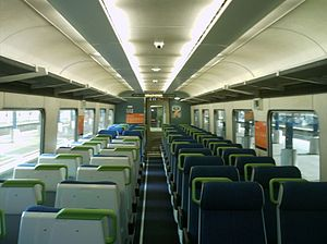 New Zealand British Rail Mark 2 carriage - The interior of an SE carriage, formerly used on Metlink peak services in Wellington.