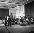 Nagykáta 1969. Kultúrház, az MTV Az ingázó falu című műsor Fortepan 89681.jpg