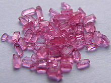 Small translucent, pink-coloured crystals a bit like the colour of candy floss