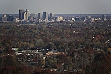 Part of New Albany as seen from Floyds Knobs, Indiana. Louisville's skyline is in the background.