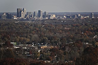 New Albany, Indiana - Part of New Albany as seen from Floyds Knobs, Indiana. Louisville's skyline is in the background.