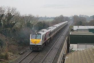 Enterprise (train service) - Locomotive 206 passes Moira en route to Dublin Connolly