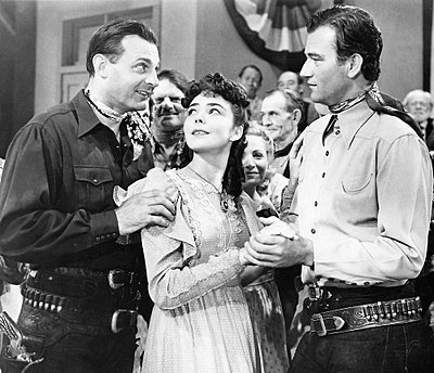 Ray Corrigan, Jennifer Jones, and John Wayne in New Frontier (1939) New Frontier (1939) 1.jpg