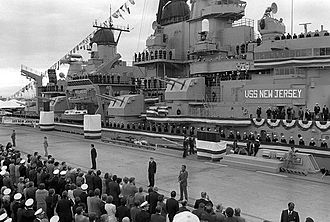 USS New Jersey (BB-62) - President Ronald Reagan speaks during the recommissioning ceremony for New Jersey.