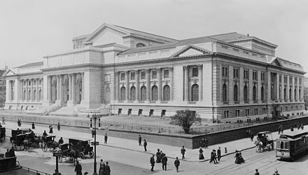The New York Public Library main building during late stage construction in 1908, the lion statues not yet installed at the entrance New York Public Library 1908c.jpg