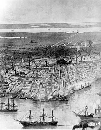 Capture of New Orleans - Panoramic view of New Orleans; Federal fleet at anchor in the river (c.1862)