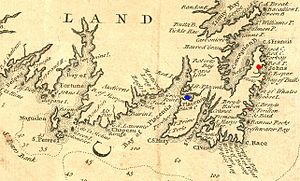Siege of St. John's - Image: Newfoundland 1744Annotated