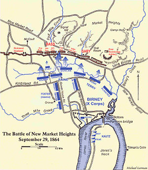 Battle of Chaffin's Farm - Map of the action at New Market Heights