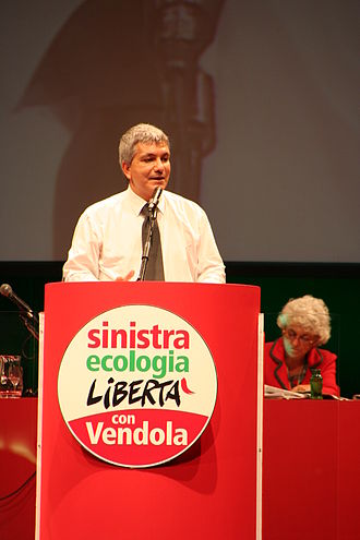 Left Ecology Freedom - Nichi Vendola during the party's first congress in Florence.