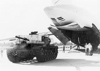Operation Nickel Grass - M60 tank unloaded from a USAF C-5 Galaxy during Operation Nickel Grass