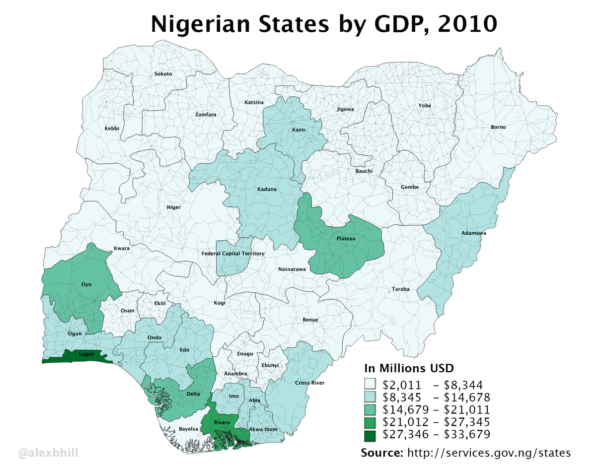 List Of Nigerian States By GDP Wikipedia - Gsp by state us map 2010