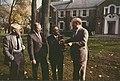 Norman Jewison, Charles Taylor, Mayor Mel Lastman and Sam Kula at Windfields Estate in November of 1987. (48198932457).jpg