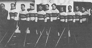 1937 Ice Hockey World Championships - Norway prior to the start of the tournament. Playing in their first international competition, the Norwegians finished ninth.